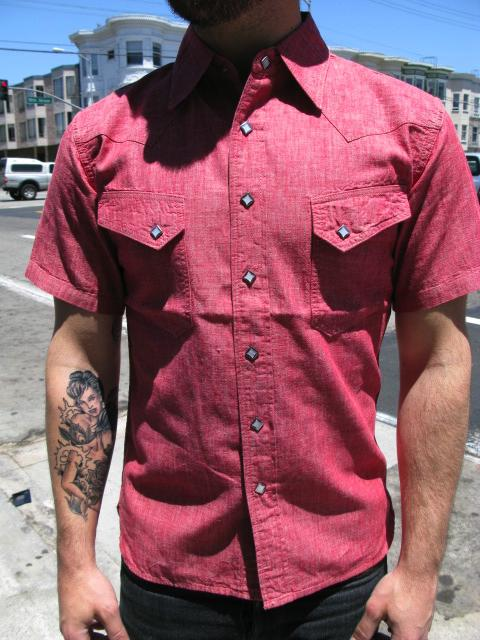 Short sleeve red chambray