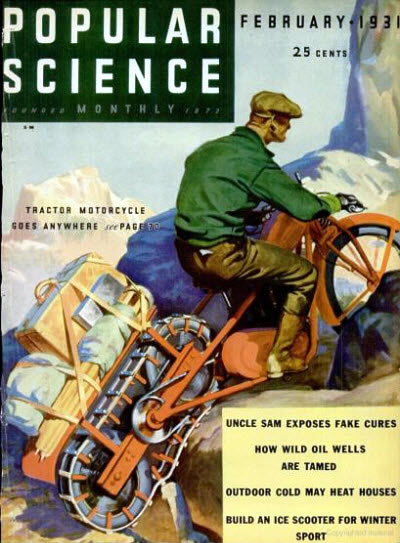 Tracked Motorcycle on the cover of Popular Science
