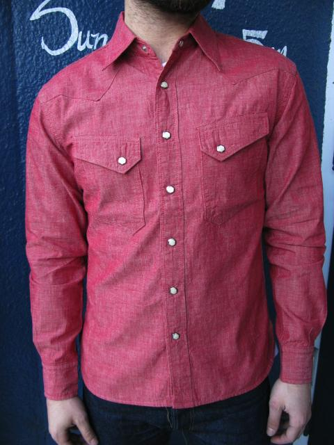 Long sleeve red chambray